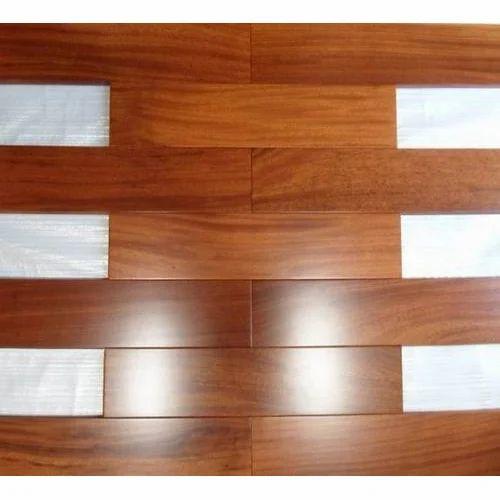Brown Teak Sports Wooden Flooring, Thickness: 10-15 mm