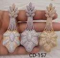 Glamore Hi-fashion Jewellery American Diamond Earrings, Size: Medium