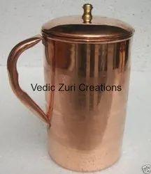 CU-10 Copper Jug With Brass Lid