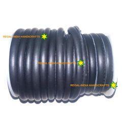 Black Round Stitched Genuine Nappa Leather Cord