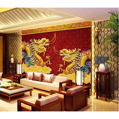 Printed 3d Chinese Dragon Wallpaper