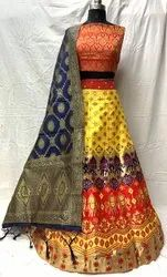 Multi Color Banarasi Lehenga