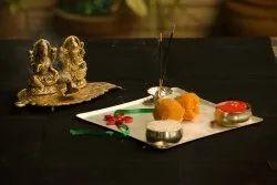 Laxmi Ganesh On a Leaf With Diya