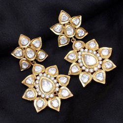 Traditional Gold Plated Moissanite Polki Sterling Silver Dangler Earring
