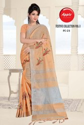 Apple Festive Collection-3 Series Fc21-29 Stylish Party Wear Linen Silk Saree