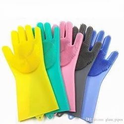 Multicolor Dishwashing Magic Cleaning Silicone Gloves With Scrubber, For Home, Size: Universal