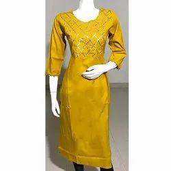 Rayon Yellow Gota Patti Print Kurti