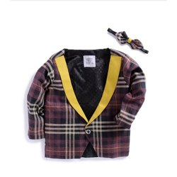 Kids Full Sleeve Check Blazer