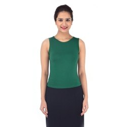Green Ladies Sleeve Less Crop Top
