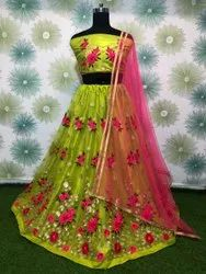 Thread and Zari Embroidery Lehenga