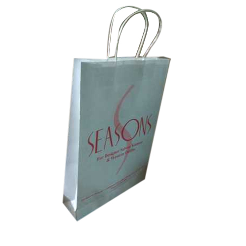 White Printed Recycled Paper Bag, Size: 11x16x3, 120