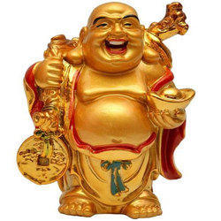 Feng Shui Laughing Buddha Golden Color Showpiece