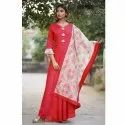 Ladies Rayon Long Gown With Dupatta