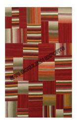 Red, Yellow SGE Wool Patchwork Carpet