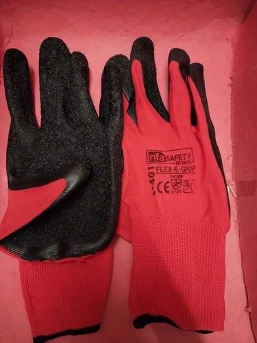 Red and black Cotton Cut Resist Hand Gloves, Size: Large
