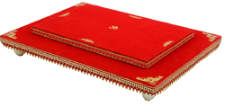 Shubham Arti Crafts Red Decorated Wooden Chowki (30.5 cm x 5 cm x 23 cm)