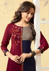 Designer Rayon Kurti With Embroidery Work