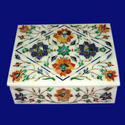 White Decorative Marble Inlay Jewelry Box