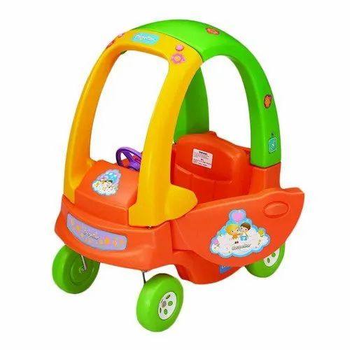 Orange, Yellow And Green Plastic Baby Coupe Car
