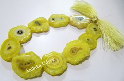 Slice Lemon Quartz Solar Quartz Beads, Size: 30mm