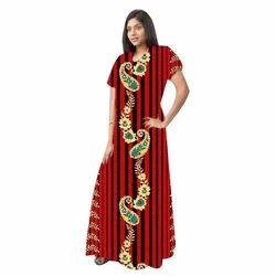 Ladies Cotton Elegant Half Sleeves Printed Gown f7d7b0f97500