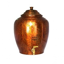 IndianCartVilla Pure Copper Printed Water Pot