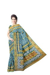 All Over Green Color Fancy Design Work Art Silk Bandhani Saree