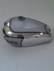 New Norton Es2 Chrome And Silver Painted Petrol Tank With 2 Side Holes For Knee Pads (Repr
