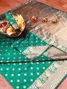 Banarasi Silk Casual Wear Rama Saree With Blouse Piece