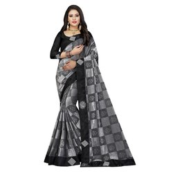 Checks Foil Printed Saree