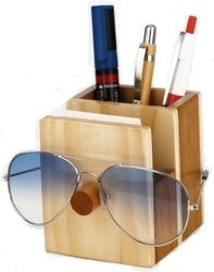 Brown DW5601 Wooden Pen Holder, Size: 3 X 4 X 4 Inches Approx