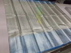 Silver Hand Loom Gold Touch Pure Silk Saree