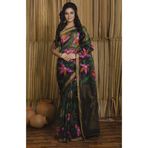28de2d85841a2 Muslin Jamdani Saree in Black with floral motif all over the body at ...