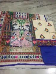 chanderi Casual Wear Madhubani Work Embroidary Suit, Size: standard