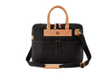 Black And Brown Cross Body Waxed Canvas And Leather Laptop Bag