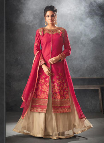 e80dc341a0 Raw Silk Party Wear Floor Length Designer Anarkali Suits, Rs 2446 ...
