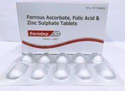Ferrous Ascorbate 100mg, Folic Acid 1.5mg, Zinc, 22.5mg