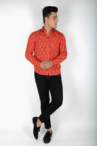 Red Printed Men Shirt