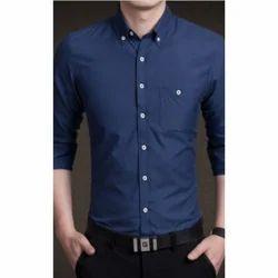 Cotton Formal Wear Navy Blue Shirt