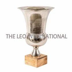 Aluminium Vase With Wooden Base