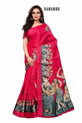 e12c10d62 Pink Printed Mysore Silk Sarees