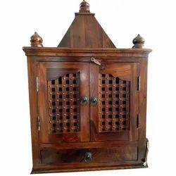 Sheesham Wood Brown Traditional Wooden Handcrafted Mandir, 9-12 Kg