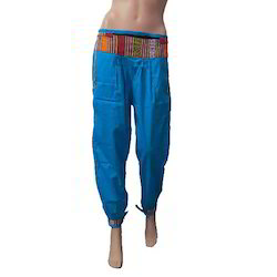 253079fa3d938 Ladies Lycra Cotton Blue Harem Pants