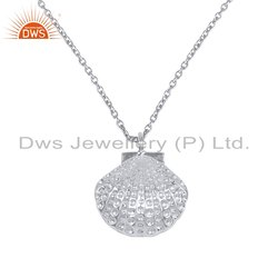 925 Sterling Fine Silver Shell Design Plain Silver Chain Pendant Necklace