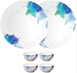 Mehul Set of 6 Pcs, Melamine, Round, 2 Dinner Plate & 4 Bowl Design Brushpaint