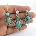 Stunning Ruby Emerald 925 Sterling Silver Jewellery Set