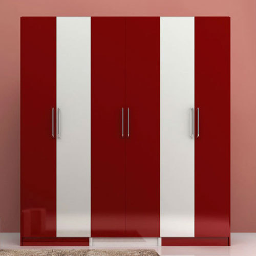 Red And White Wooden Designer Bedroom Wardrobe, Rs 900