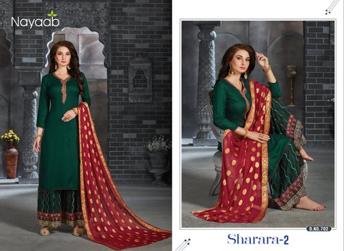 Wedding Wear Green & Red Nayaab Sharara Suit