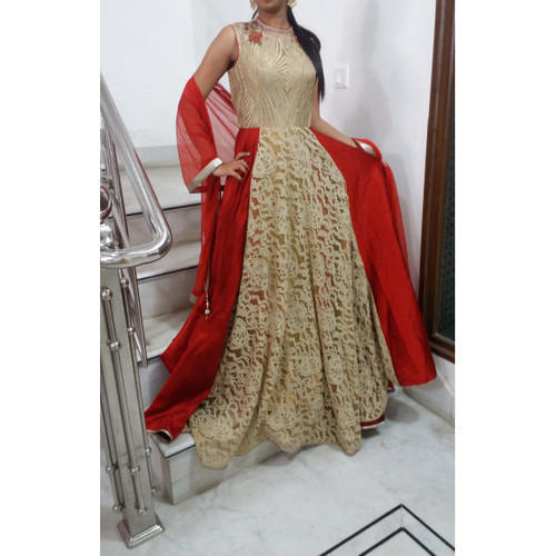 44eb277f6 Golden Red Satin Bridal Gowns On Rent, Rs 2200 /piece, Shahi Lehenga ...