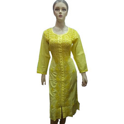 Ladies Yellow Full Sleeve Designer Embroidered Kurti